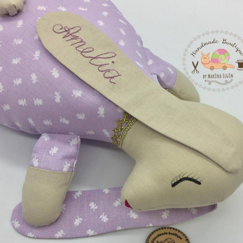 Personalised textile rabbit with your name on his ears