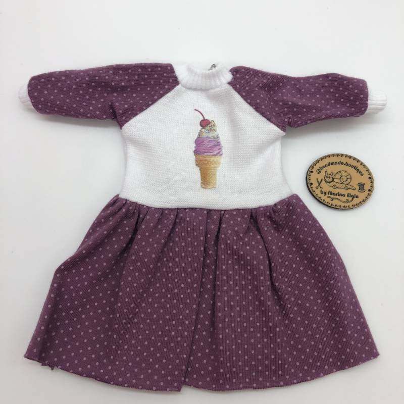 Dotted dress in wild berry color with ice cream