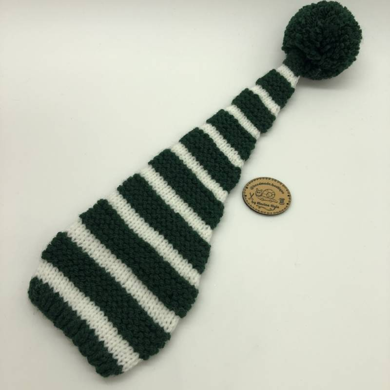 Green white striped hat with green pompon