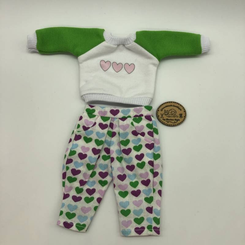 Trousers and Sweatshirt with green, pink and purple hearts