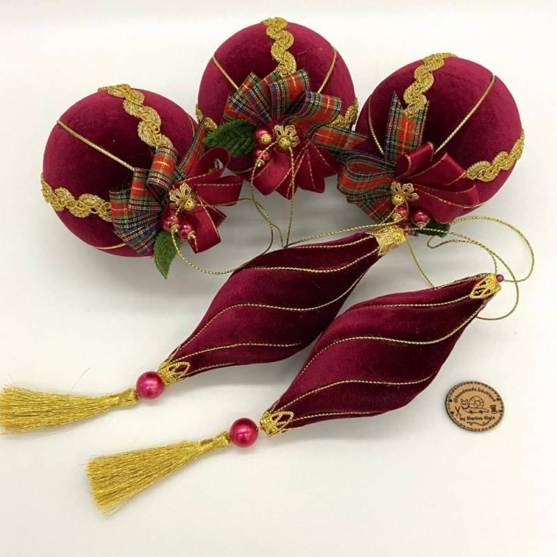 Rot-goldener, handgemachter Weihnachtskugel Set aus Samt